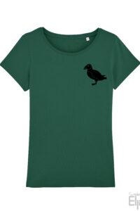 Groen t-shirt voor vrouwen met afbeelding van een puffin