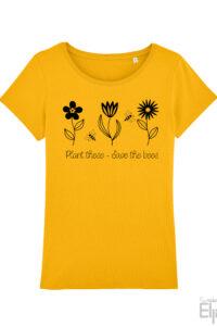 Geel t-shirt voor vrouwen met tekst 'Save the Bees' en afbeelding van bloemen en bijen