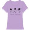 Lavendel t-shirt voor vrouwen met tekst 'Save the Bees' en afbeelding van bloemen en bijen
