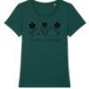 Groen t-shirt voor vrouwen met tekst 'Save the Bees' en afbeelding van bloemen en bijen