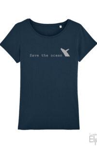 Blauw t-shirt voor vrouwen met de tekst 'Save the ocean' en een afbeelding van een springende walvis