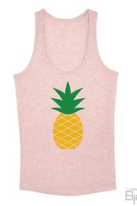 Roze singlet voor vrouwen met een afbeelding van een ananas