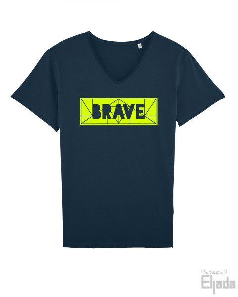 Blauw t-shirt voor mannen met een geometrische print met de tekst 'Brave'