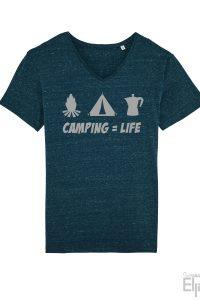 Denim t-shirt voor mannen met de tekst 'Camping=Life' en een afbeelding van een kampvuur, een tent en een perculator
