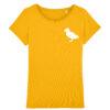 Geel t-shirt voor vrouwen met afbeelding van een puffin