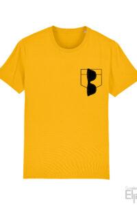 Geel t-shirt voor mannen met afbeelding van een zonnebril in een pocket